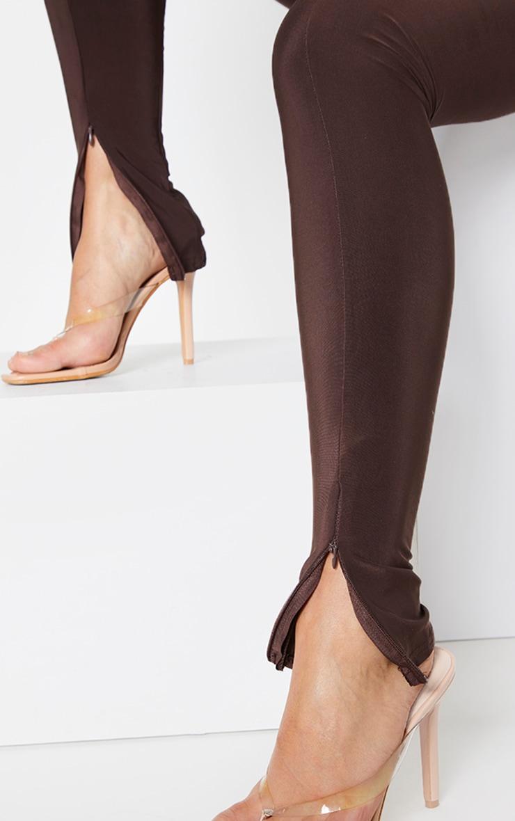Chocolate Brown Slinky Seam Front Split Hem Leggings 4