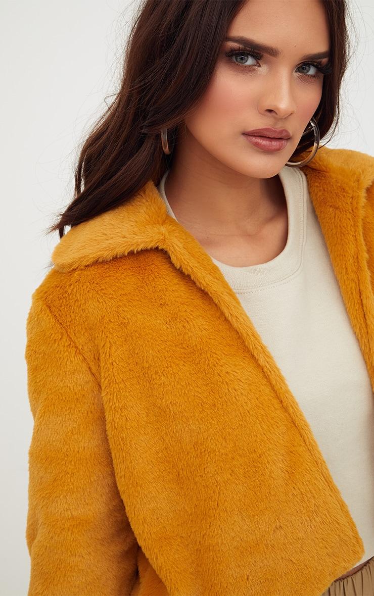 Mustard Cropped Faux Fur Coat 5