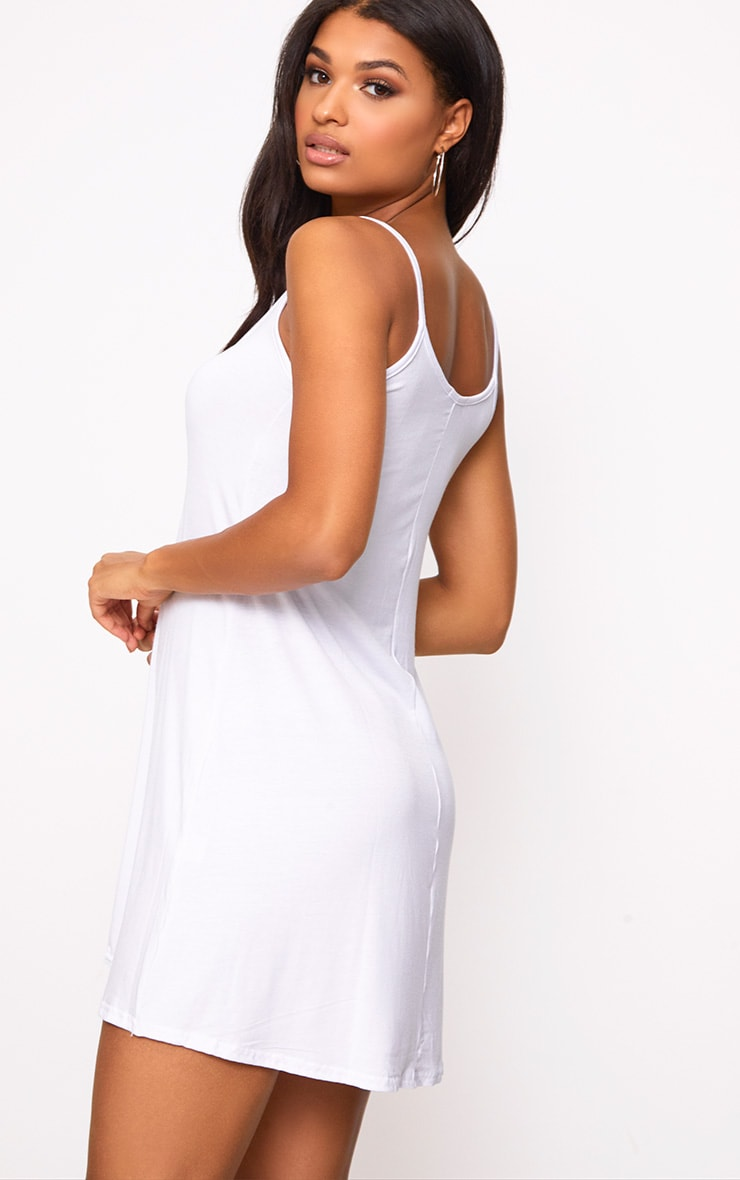 White Jersey Lace Up Front Detail Swing Dress 2