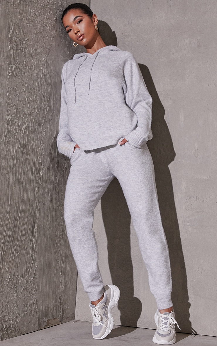 Light Grey Recycled Hoodie And Jogger Knitted Lounge Set 1