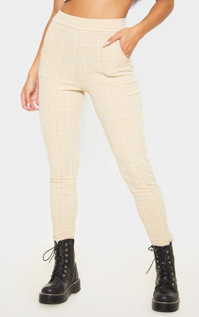 Stone Tweed Check Skinny Trousers