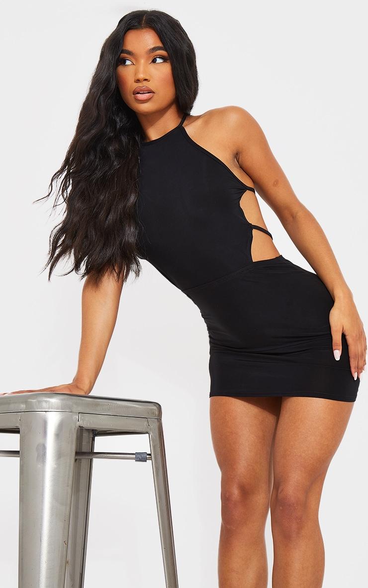 Black Slinky Halterneck Waist Cut Out Bodycon Dress 3