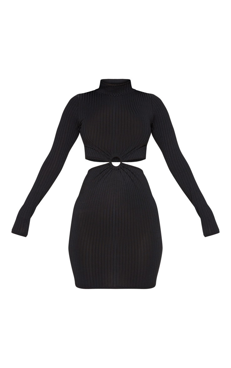 Black Ribbed High Neck Ring Detail Bodycon Dress 3