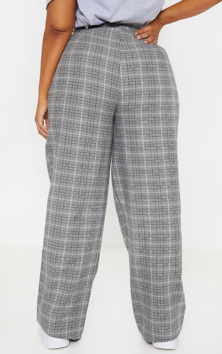 Plus Grey Paperbag Checked  Wide Leg Pants 4