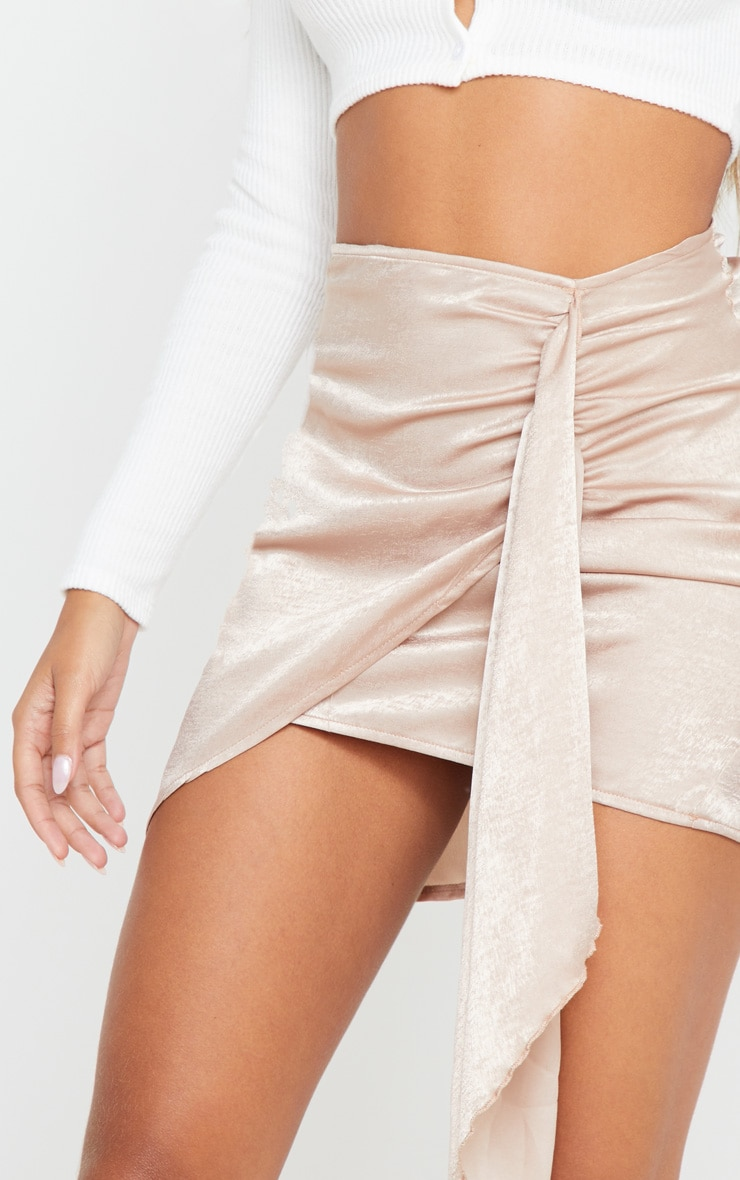 Champagne Satin Wrap Tie Detail Mini Skirt 6