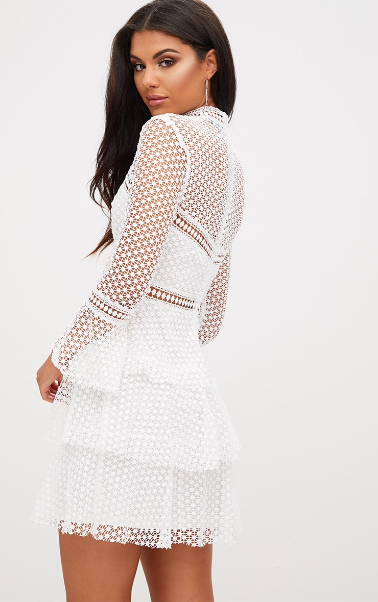 White Flare Sleeve Lace Tiered Mini Dress 2