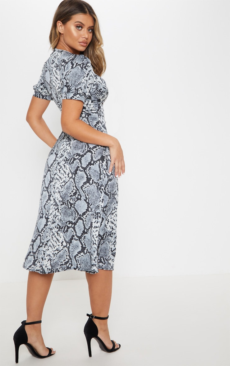 Grey Snake Print Wrap Skirt Midi Dress 2