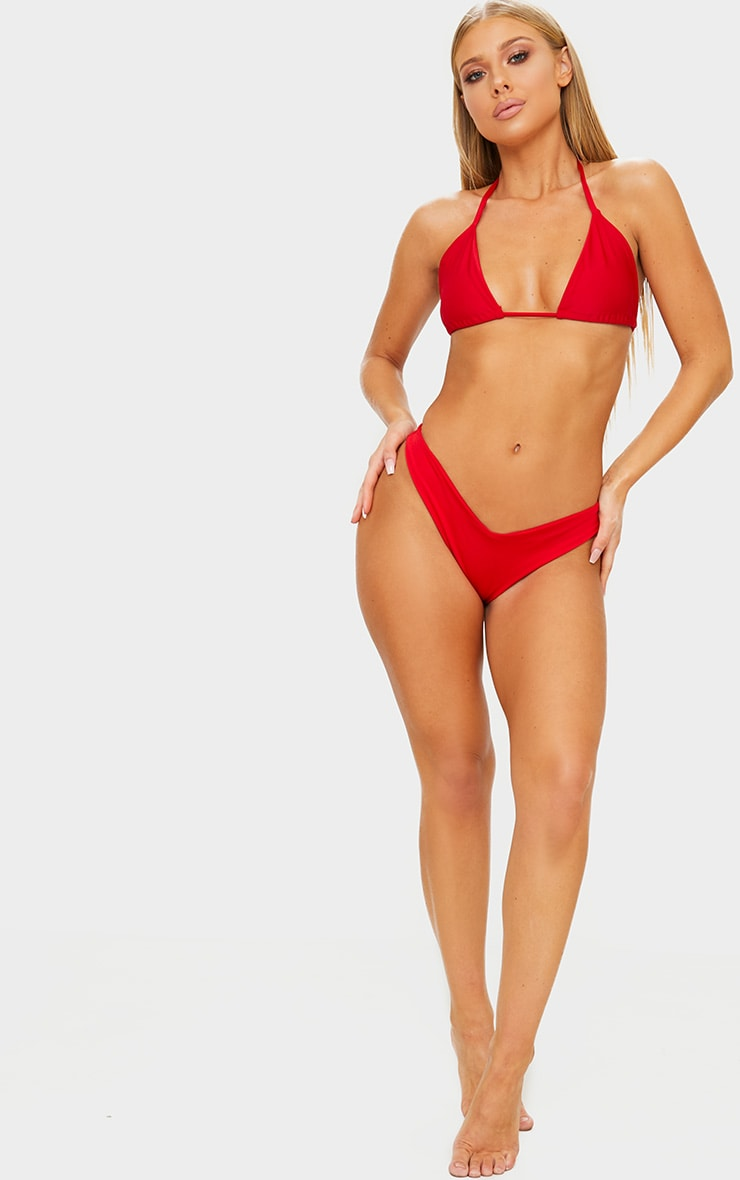 Red Mix & Match Brazilian Thong Bikini Bottom 4