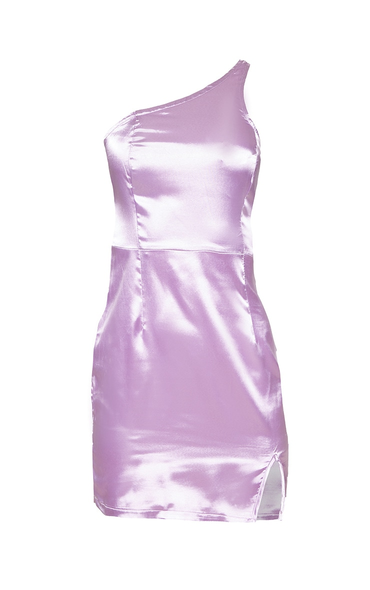 Lilac Satin One Shoulder Bodycon Dress 3