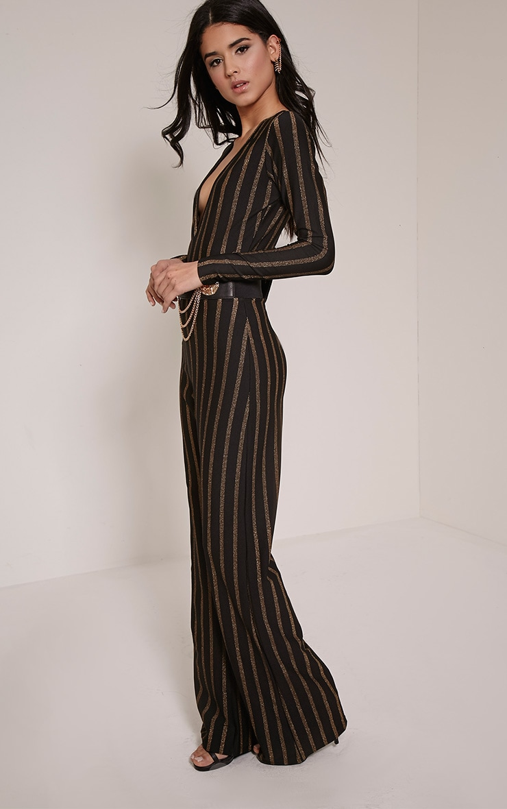 Arrie Gold Stripe Plunge Jumpsuit 3