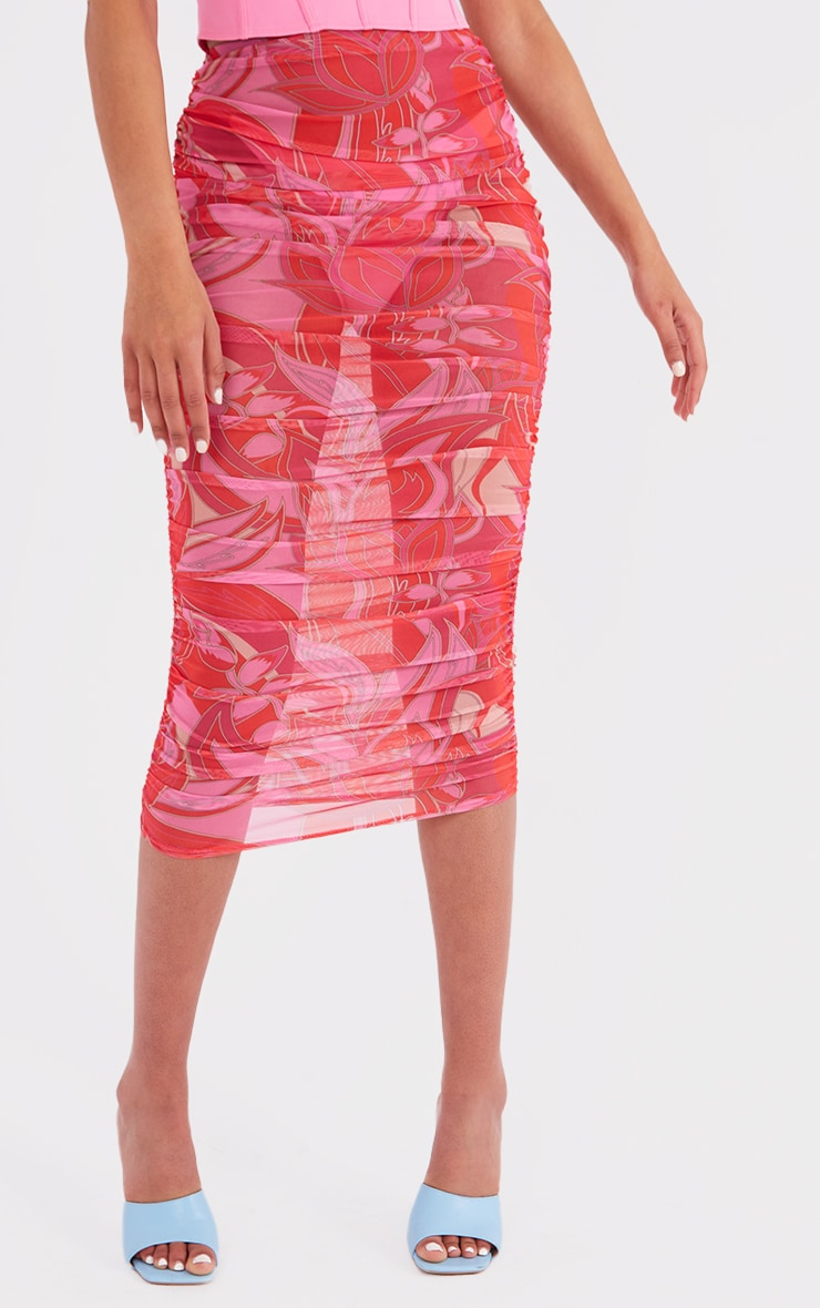 Tall Pink Floral Print Mesh Ruched Midaxi Skirt 2