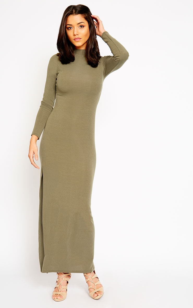 Basic Khaki Turtle Neck Maxi Dress 4