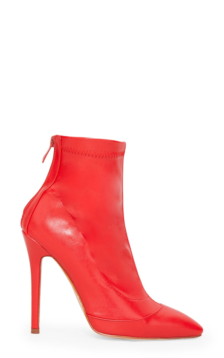 Red PU Ankle Sock Boot 4