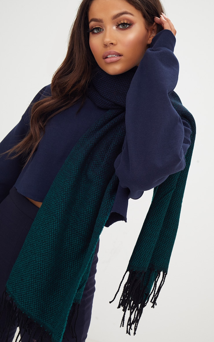 Teal Check Super soft Oversized Chunky Scarf 3