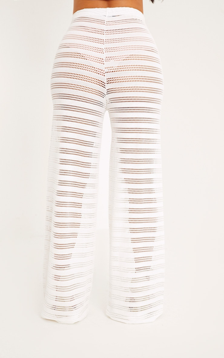 Shape Edyn Cream Lace Wide Leg Trousers 4
