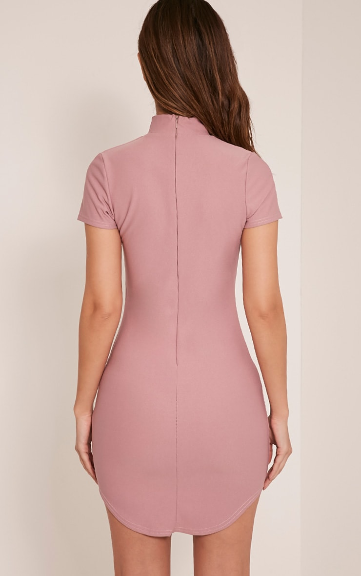 Roria Mauve Neck Detail Capped Sleeve Crepe Bodycon Dress 2