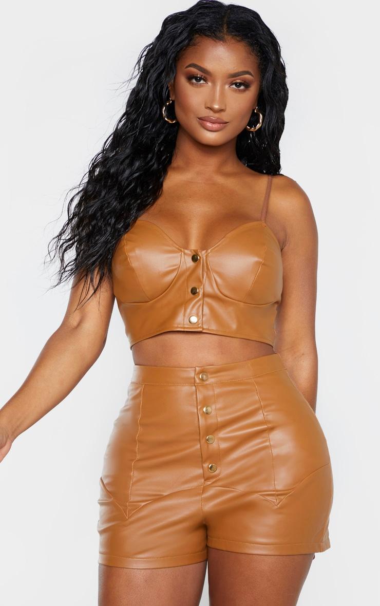 Shape Tan Faux Leather Button Front Bralet  1