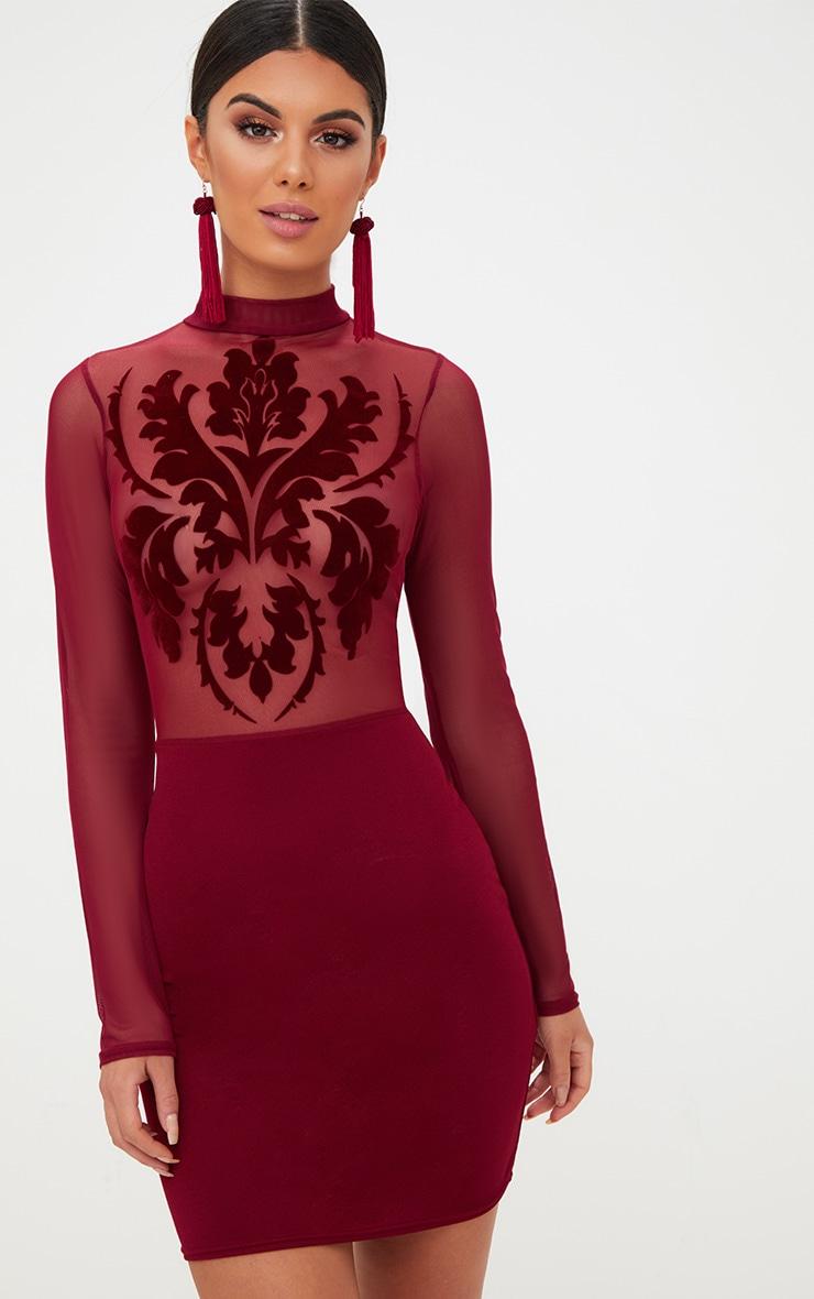 Burgundy Sheer Flocked Mesh Bodycon Dress 1