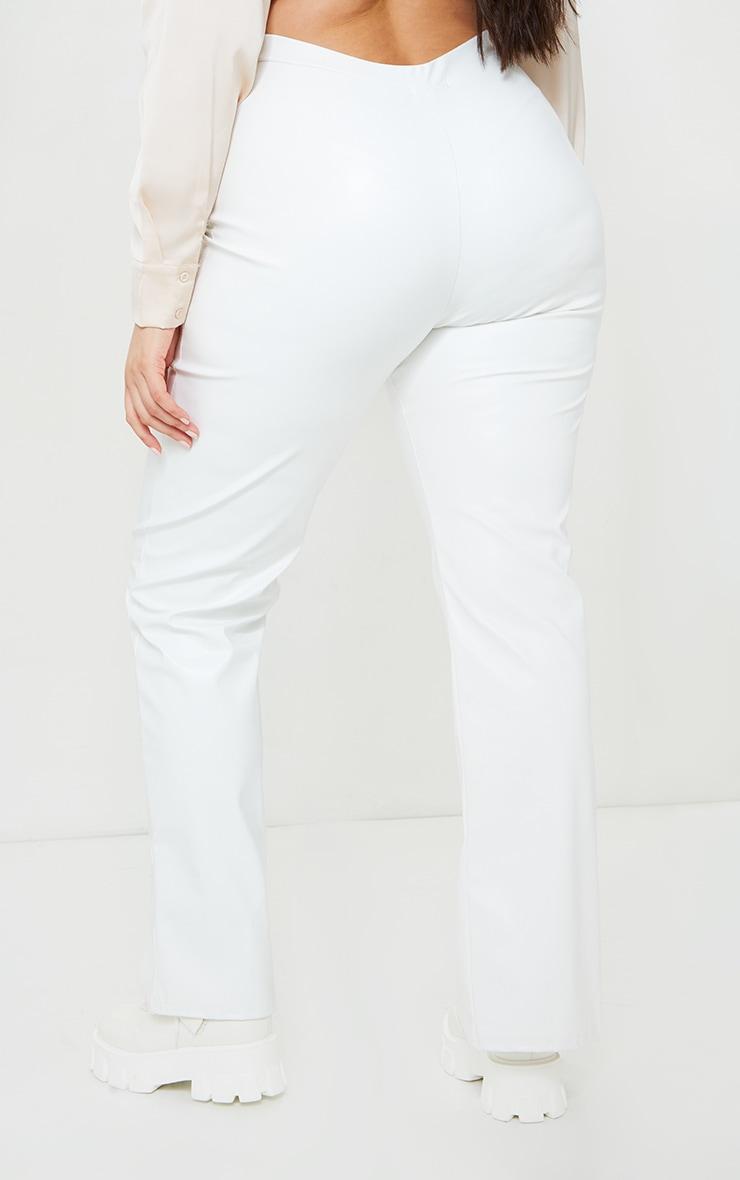 Plus Cream Faux Leather Seam Detail Split Hem Trousers 3