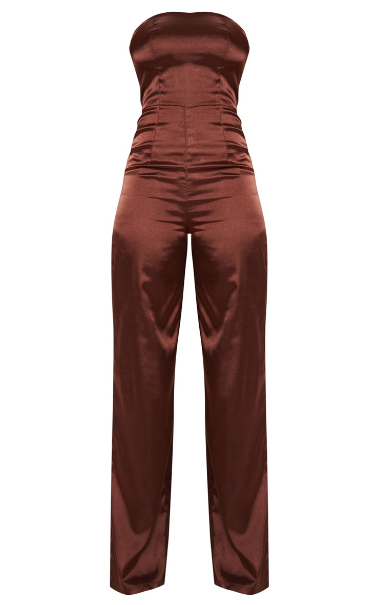 Tall Chocolate Brown Satin Bandeau Jumpsuit 3