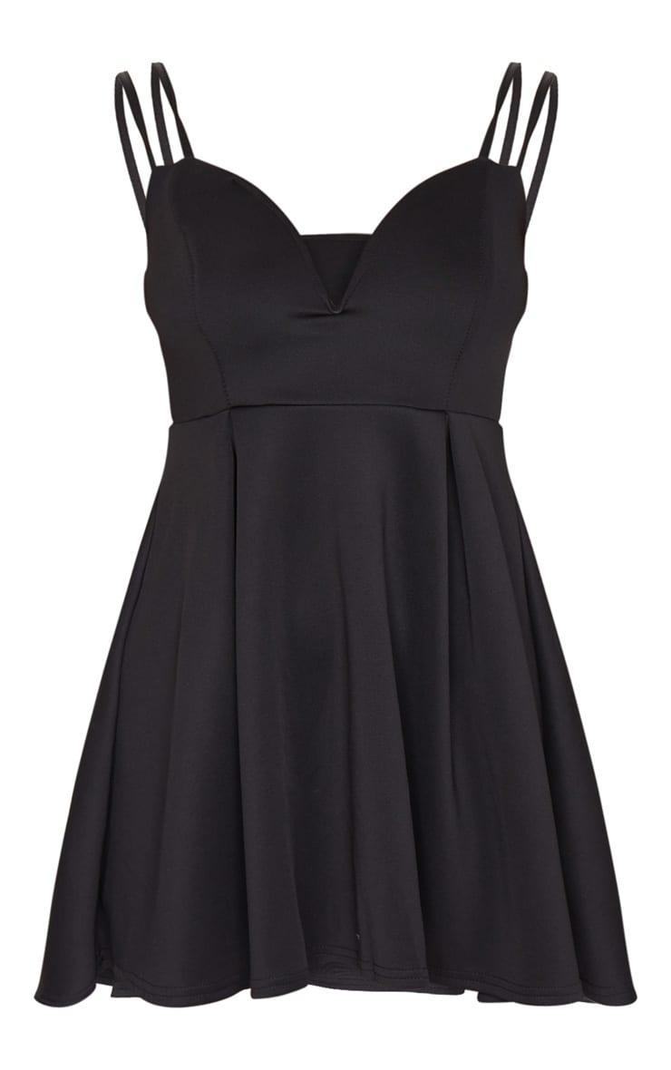 Black V Plunge Double Strap Skater Dress 5