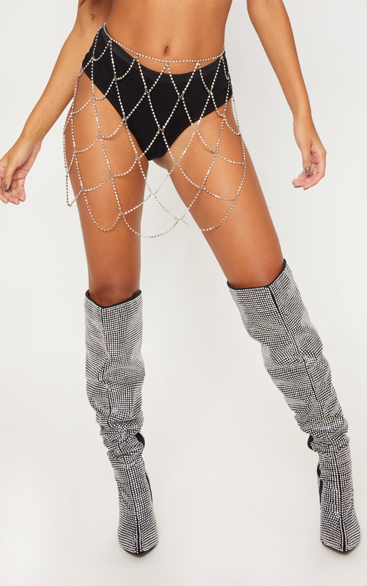 Silver Diamante Body Jewellery Skirt 2