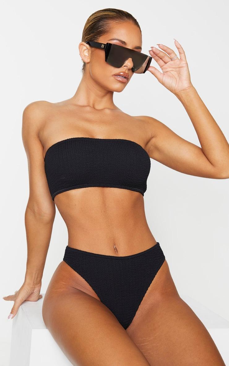 Black Cheeky Bum Crinkle Bikini Bottom 1