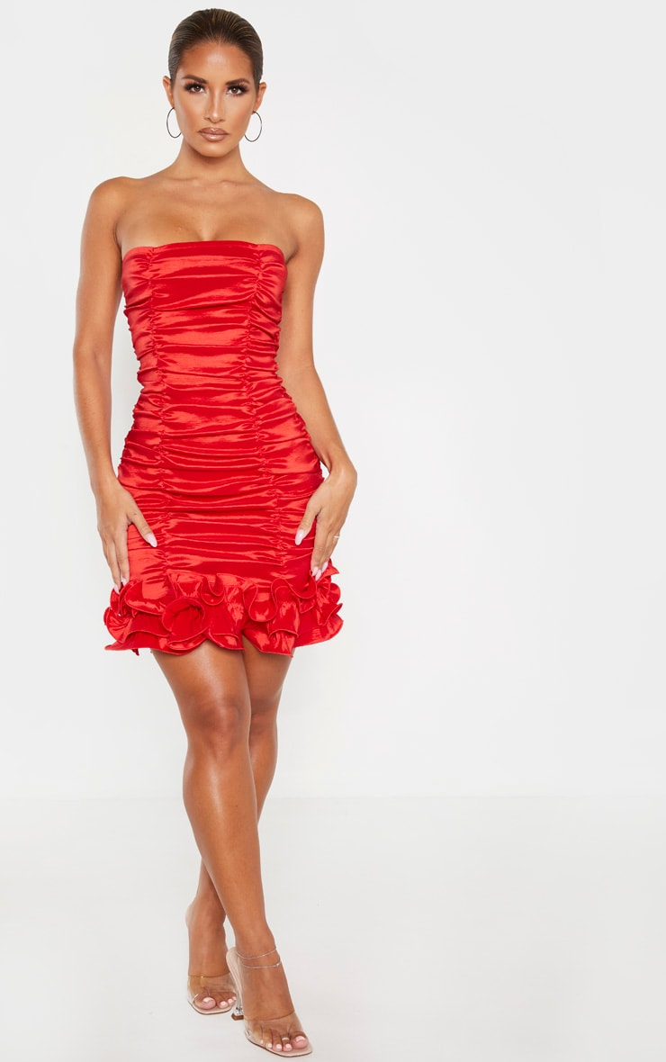 Red Woven Ruffle Frill Hem Bandeau Bodycon Dress 4
