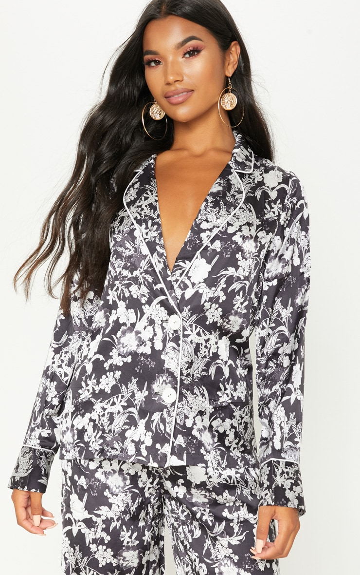 Black Floral Printed Button Front Shirt 1