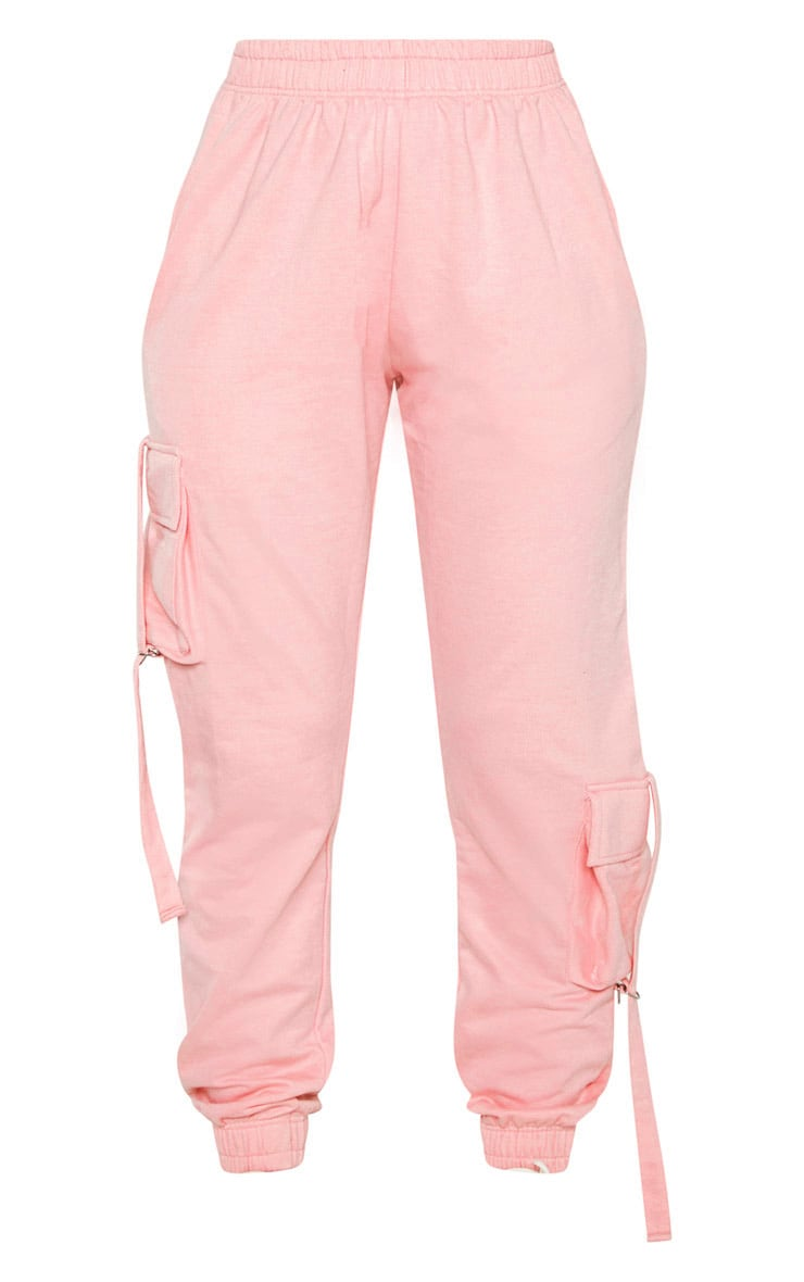 Baby Pink Cargo Detail Casual Joggers 3