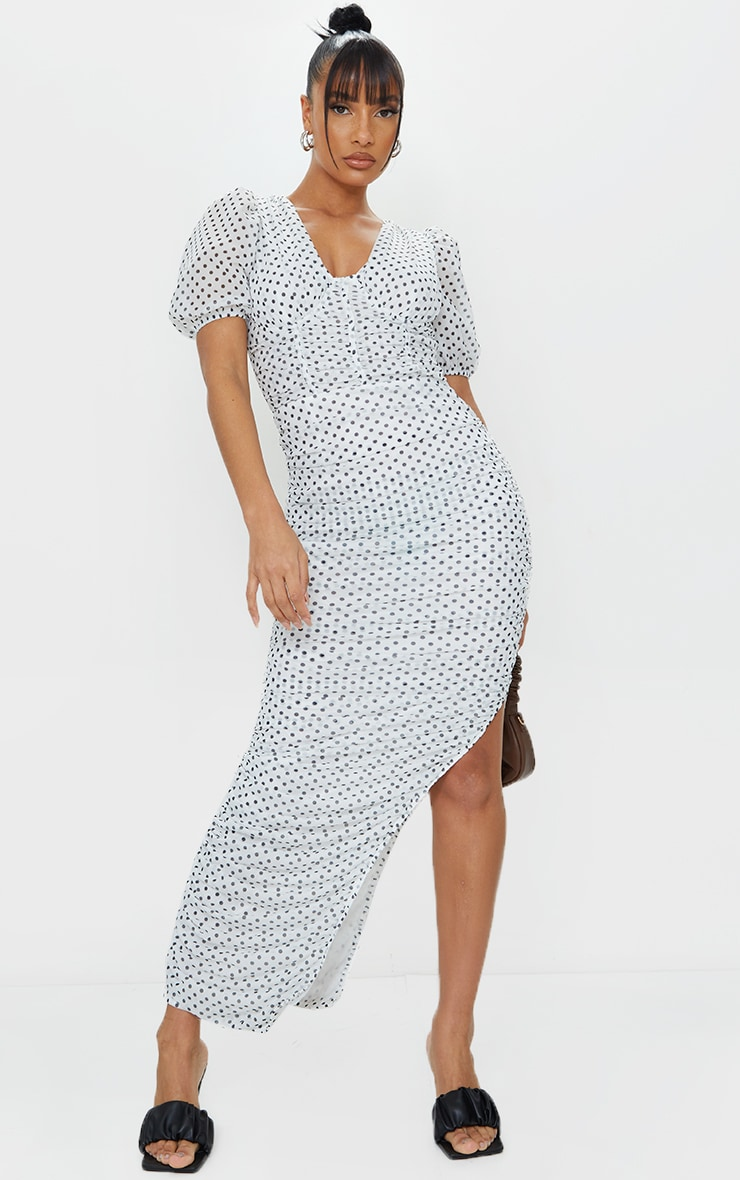 White Polka Dot Puff Sleeve Ruched Mesh Maxi Dress 1