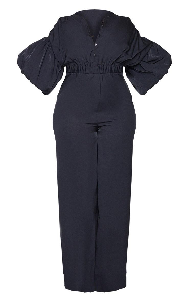 Plus Black Puffball Sleeve Wide Leg Jumpsuit 5