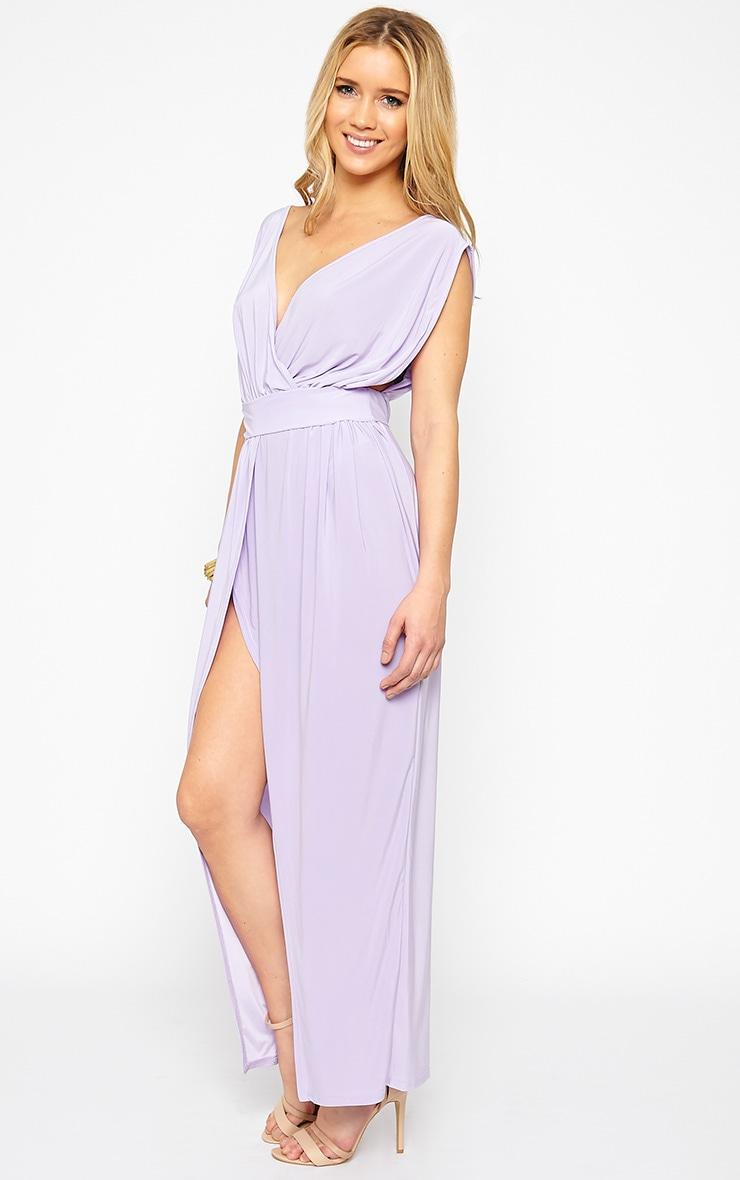 Marlisa Lilac Slinky Plunge Maxi Dress 5