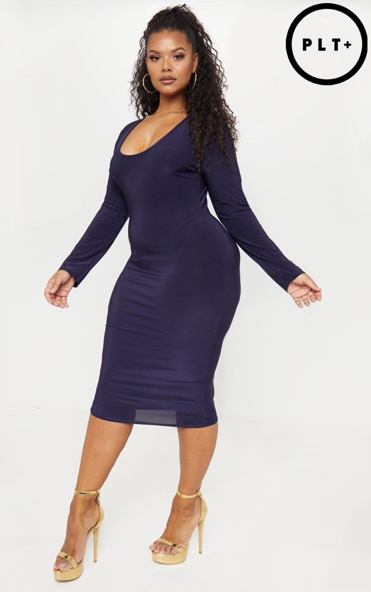 Plus Navy Plunge Bodycon Dress