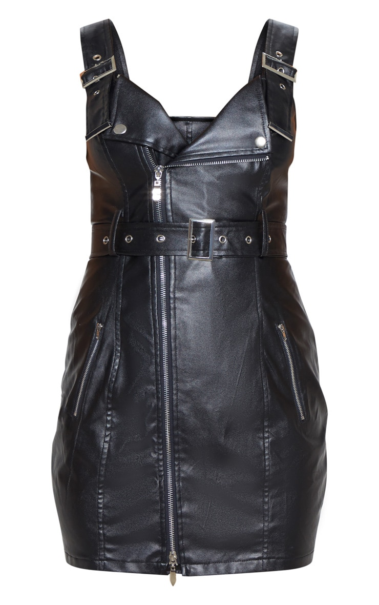 Black Faux Leather Buckle Detail Bodycon Dress 3