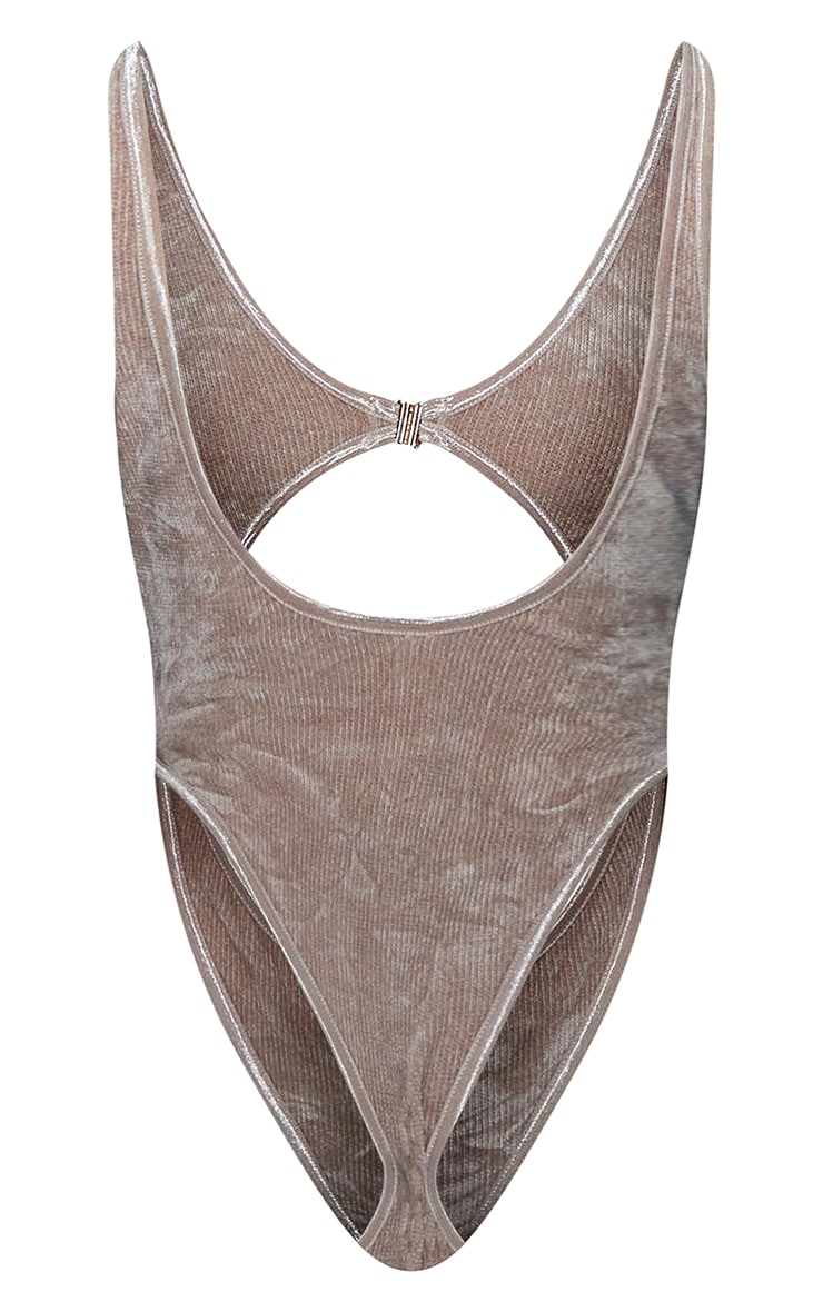 Taupe Luxe Rib Velour Extreme Cut Out Body 6