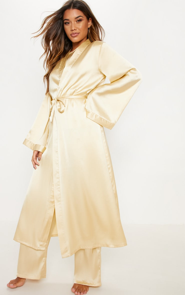 Champagne Basic Satin Robe 1