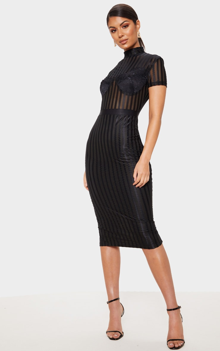 Black High Neck Lace Lined Midi Dress 4
