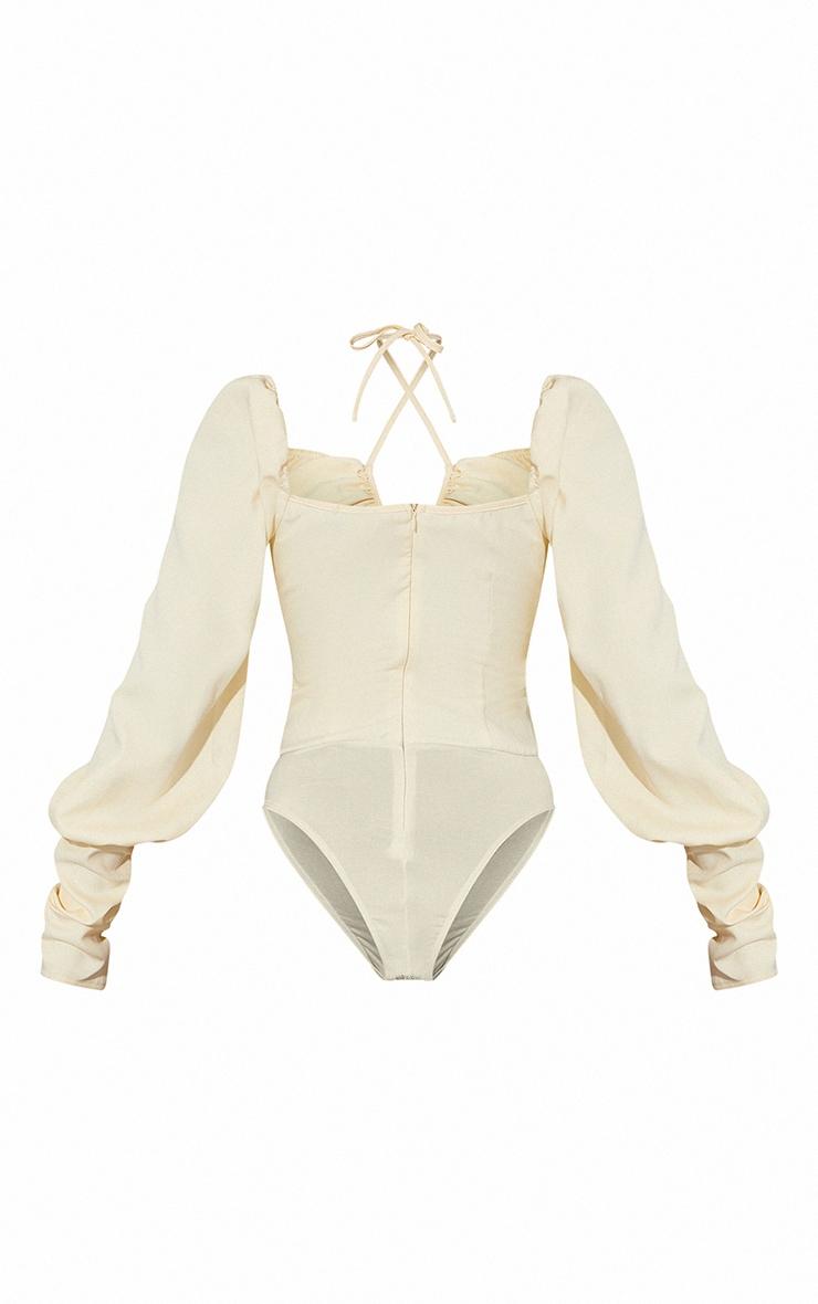 Cream Woven Halterneck Long Sleeve Bodysuit 6