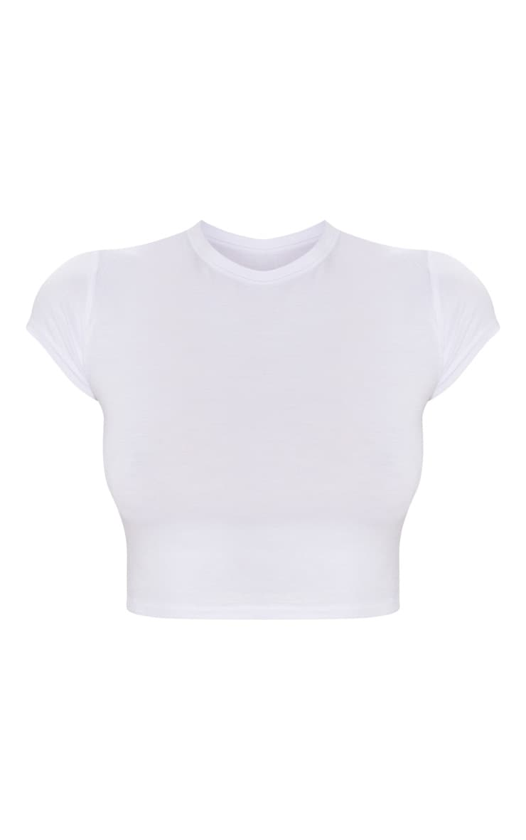 Basic White Short Sleeve Crop T Shirt 3