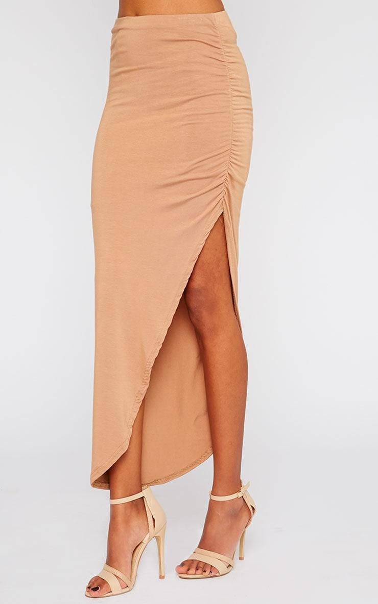Etta Camel Ruched Jersey Maxi Skirt 3