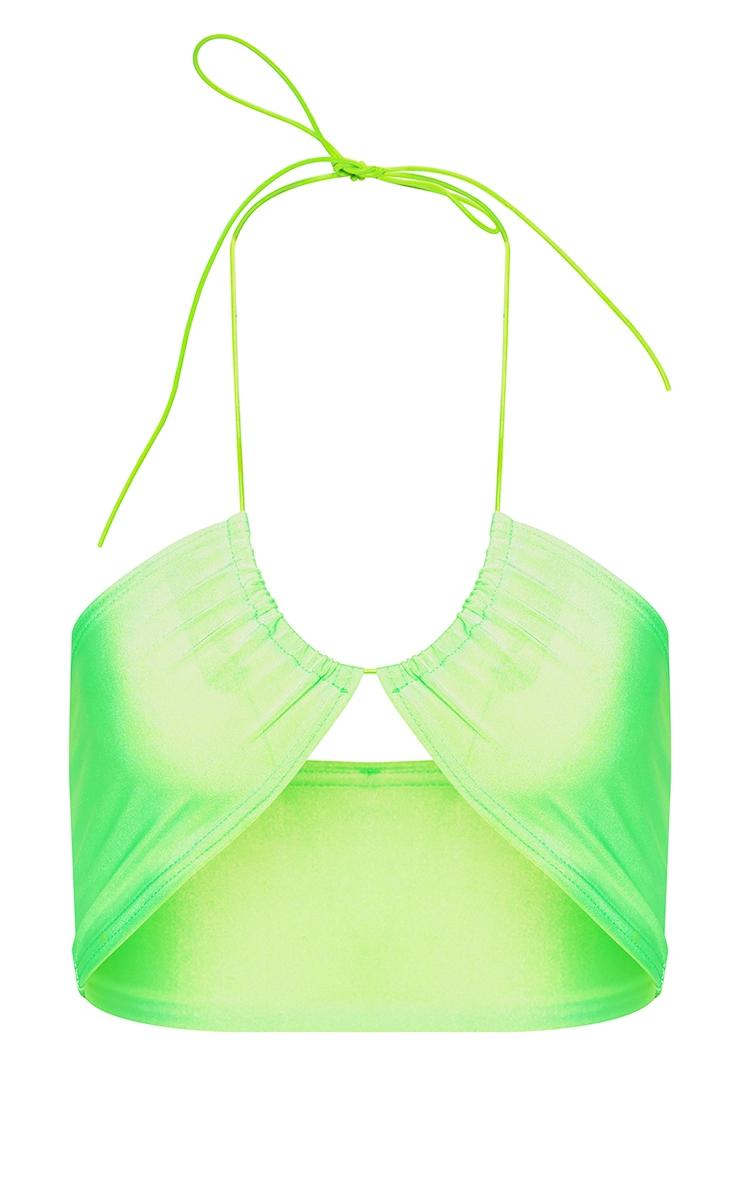 Lime Multi Tie Elastic Strap Bikini Top 3