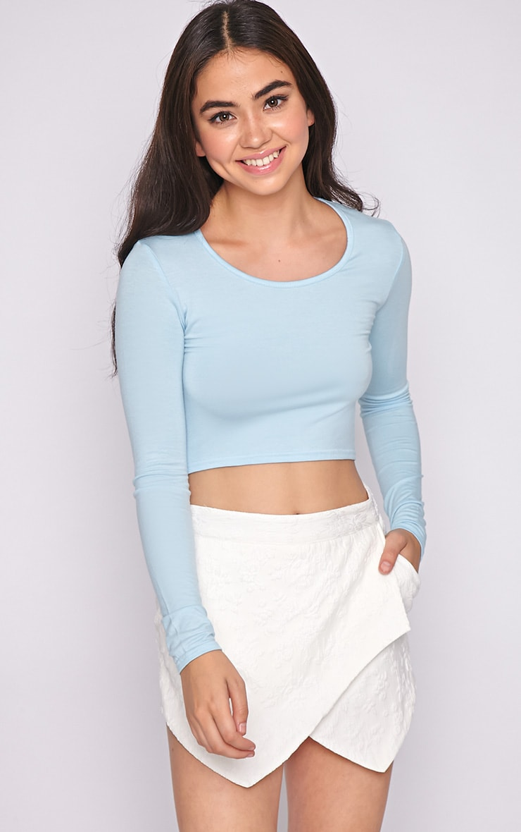 Suzy Blue Long Sleeved Crop Top  4