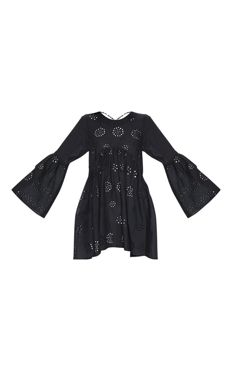Black Tassel Back Broderie Anglaise Smock Dress 3