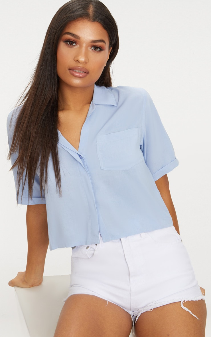 Blue Crop Oversized Shirt