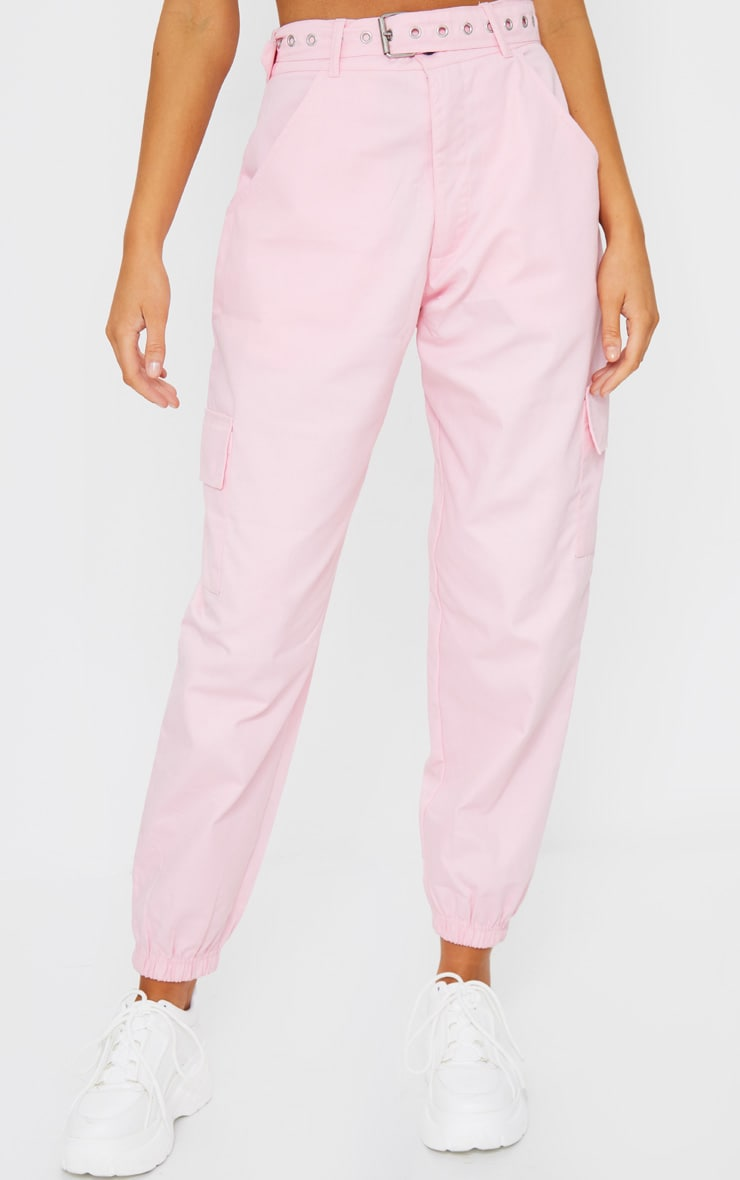 Pink Eyelet Detail Belted Cargo Trousers 2