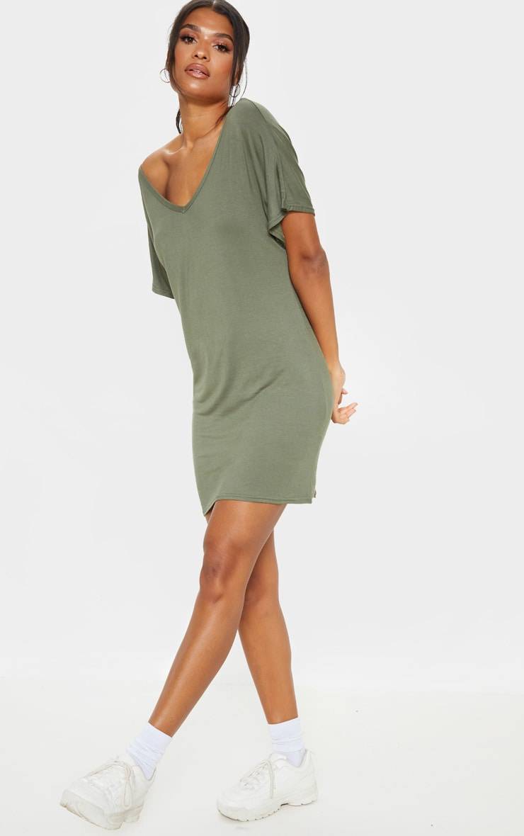Basic Khaki V Neck T Shirt Dress 1