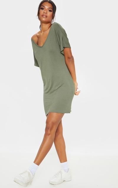 9c0845ea16 Basic Khaki V Neck T Shirt Dress