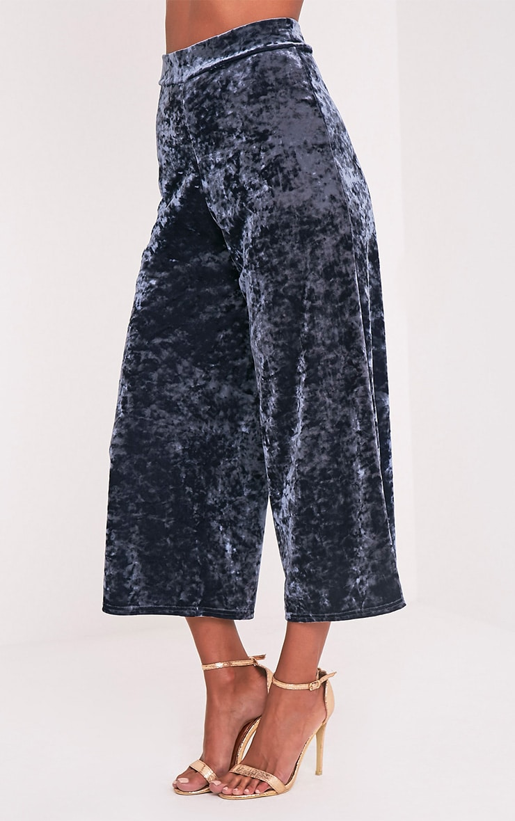 Soraya Grey Crushed Velvet Culottes 4