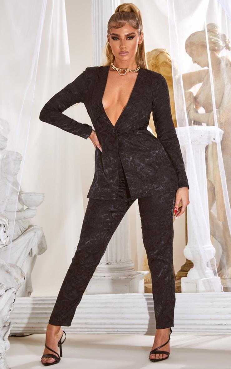 Black Jacquard Blazer Jumpsuit 1